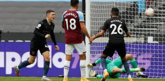 Phil Foden after scoring the equalizer for Manchester City against West Ham United in the EPL