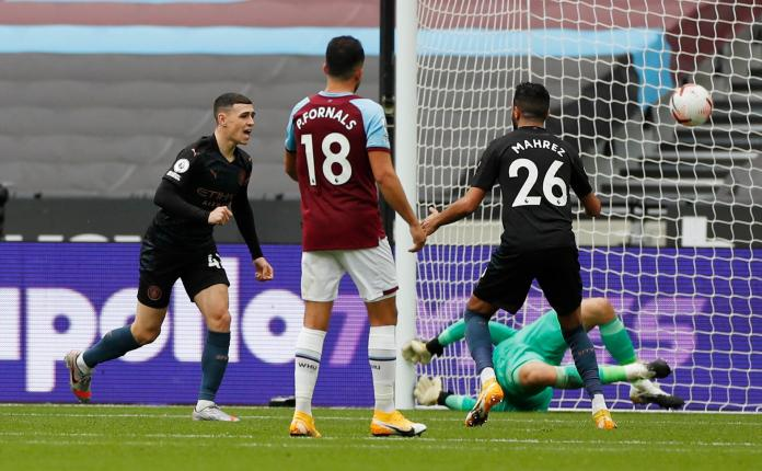 Phil Foden after scoring the equalizer for Manchester City against West Ham United in the EPL epl - IMG 20201024 150602 - EPL: Foden to the rescue as Manchester City drop points in London