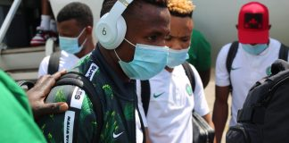 Super Eagles players arriving Sierra Leone ahead of their Tuesday encounter