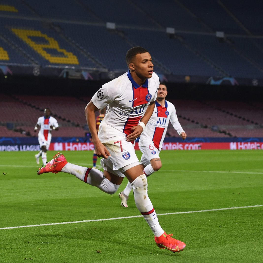 Kylian mbappe break records after scoring hat-trick for PSG against Barcelona ucl - 20210217 052919 scaled - UCL : Mbappe, PSG, sets Multiple records with UCL win against Barcelona