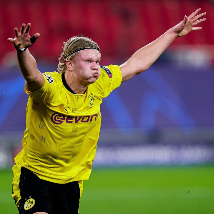 Erling Haaland celebrates his double goals against Sevilla in the UEFA Champions League ucl - 20210218 062127 scaled - UCL: Rain of goals in Europe as Ronaldo taste defeat in Portugal
