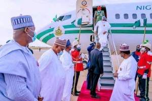 Buhari returns to Nigeria after two weeks medical trip to UK president muhammadu buhari - 20210413 154457 300x200 - Medical Trip: Buhari returns to Nigeria as Abuja House protesters suspend peaceful protest president muhammadu buhari - 20210413 154457 - Medical Trip: Buhari returns to Nigeria as Abuja House protesters suspend peaceful protest