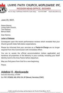 Evidence of sacking of 40 pastors by winners chapel winners chapel - 20210718 153524 203x300 - Religion: Circular Evidence As Winners Chapel Allegedly Sacked 40 Pastors