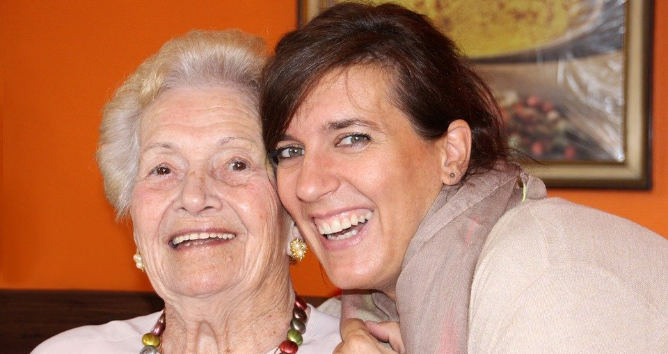 healthy and happy senior, family caregiver