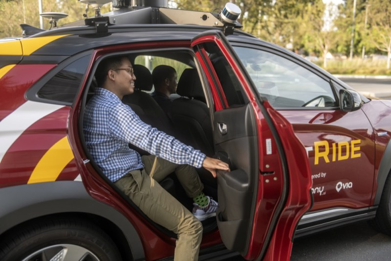 Autonomous Hyundai BotRide passenger
