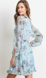 Blue Long Sleeve Floral Wrap Dress – 510 Threads Fashion Boutique 257081965