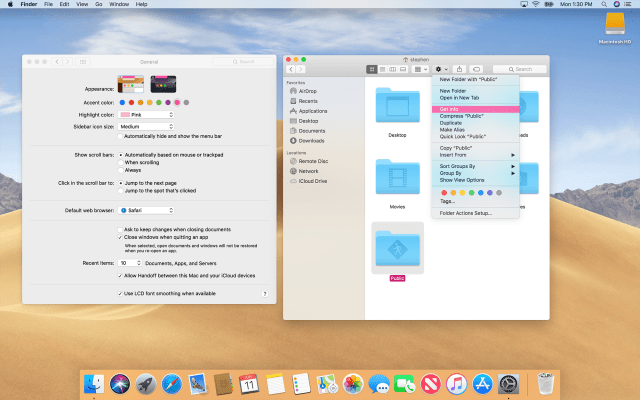 Mojave's Light Mode with Pink Accents