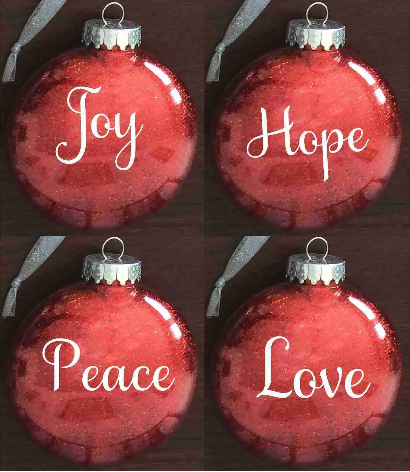 Peace Christmas Ornament.Individual Glitter Gift Ornament Joy Hope Peace Or Love