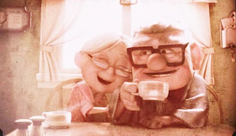 Cartoon of an elderly couple laughing while having coffee.