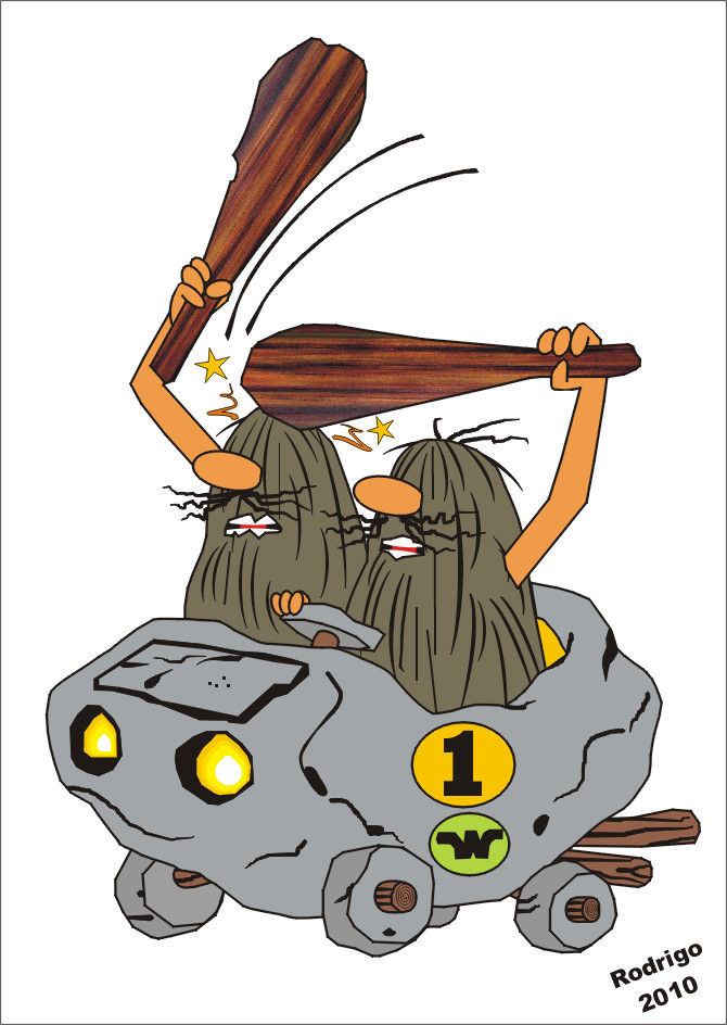 two cave people driving a car and hitting each over over the head