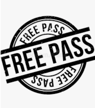 A stamp that says Free Pass in black and white