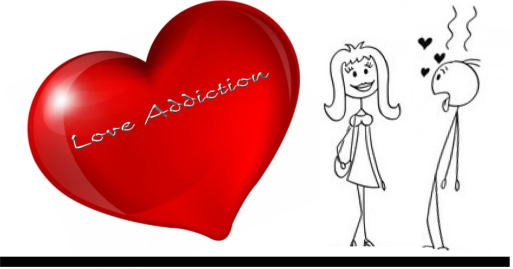 It's an addiction, love. Two stick people a man and a woman are looking at each other. The man is addicted to the woman!