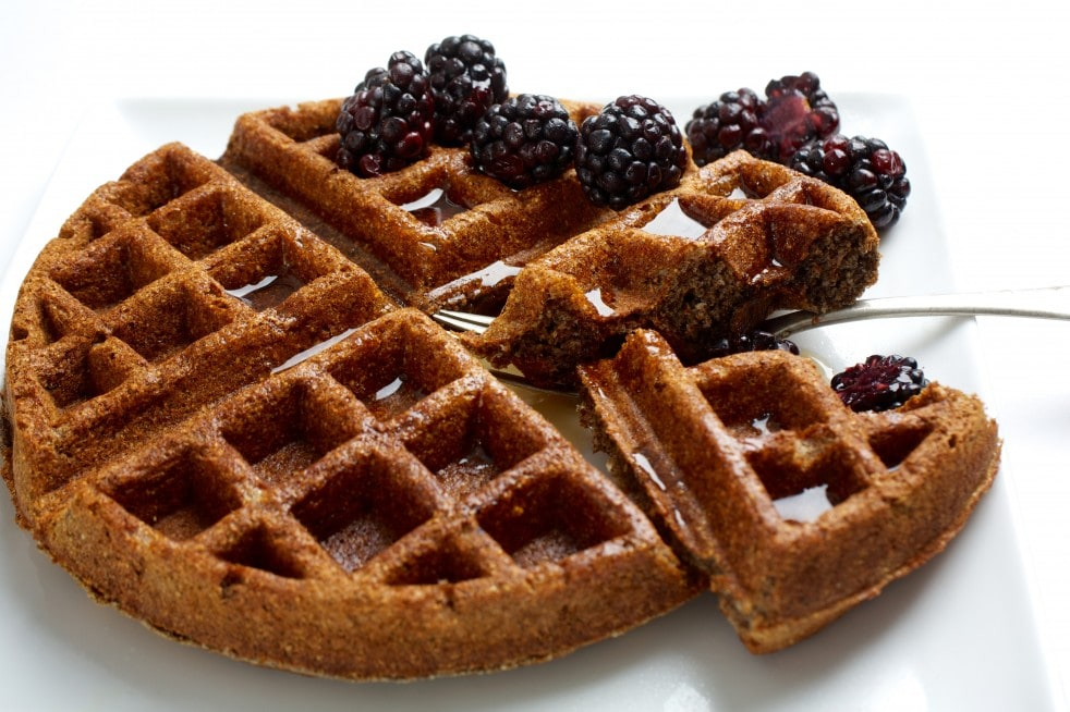 Whole Grain waffles for a healthy breakfast made with Graham flour.