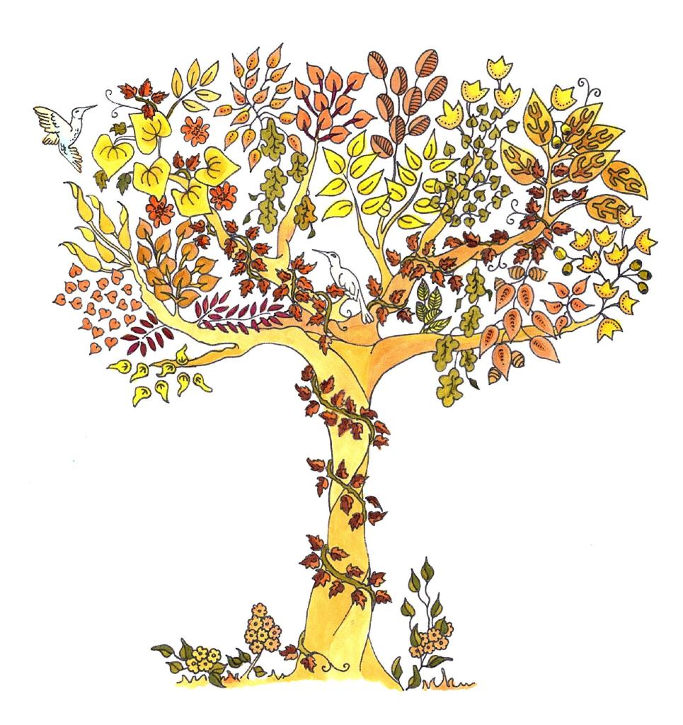 A picture of a coloring book page of a tree that's been colored browns and yellows. Get Creative
