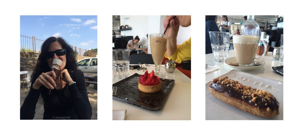 Three pictures, one of Efrona eating ice-cream, the other of a strawberry tart and one of a chocolate eclair