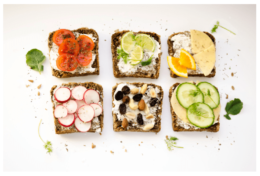 the pictures show slices of bread with healthy choices good for a bedtime snack to sleep great and wake up feeling wonderful because of prioritizing snack management.