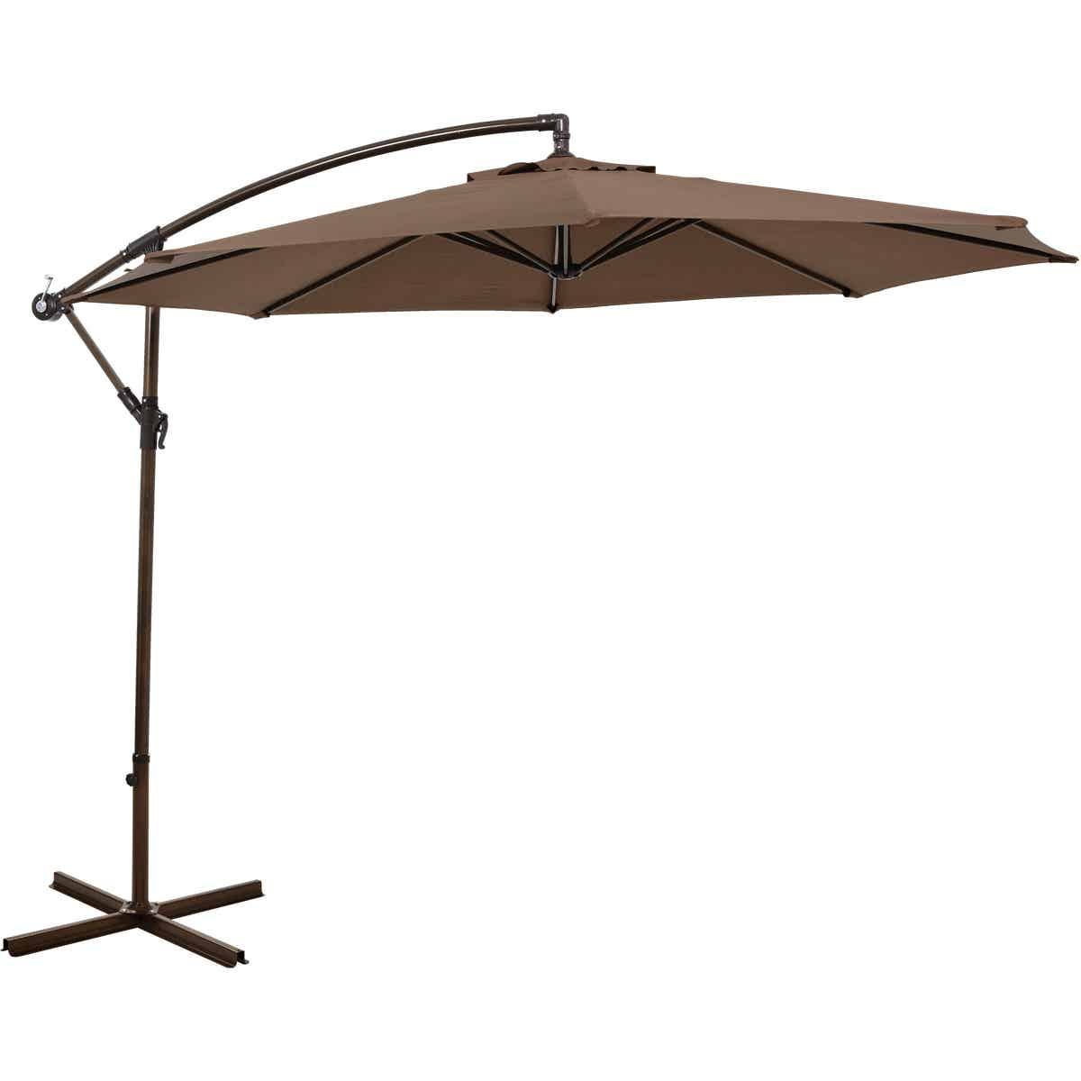 https www jerryshardware com shop outdoor living patio furniture patio umbrellas and bases patio umbrella outdoor expressions 10 ft round steel offset brown patio umbrella