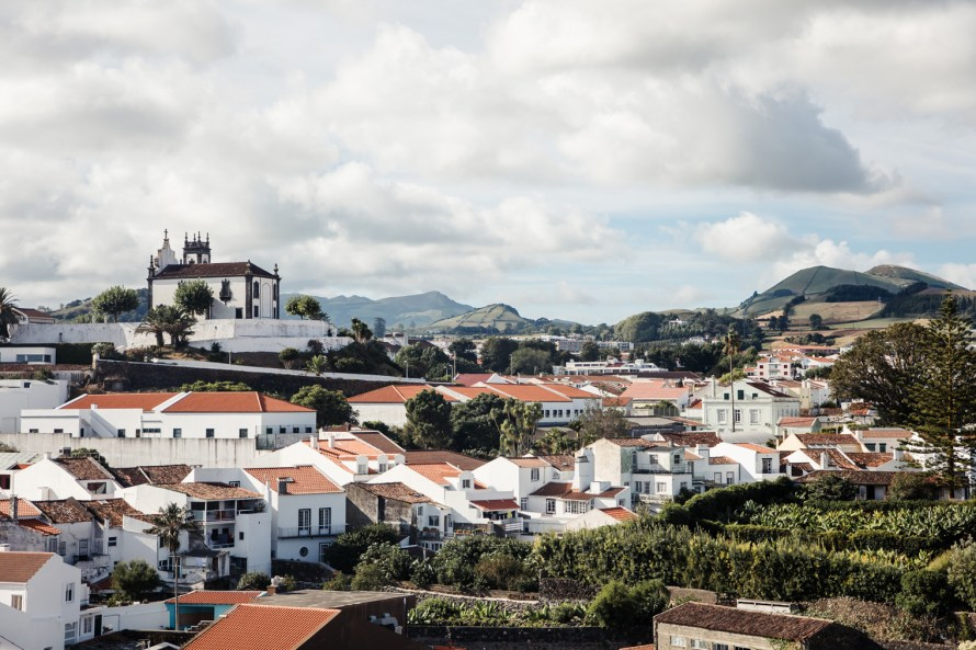 Red-roofed houses in Ponta Delgada