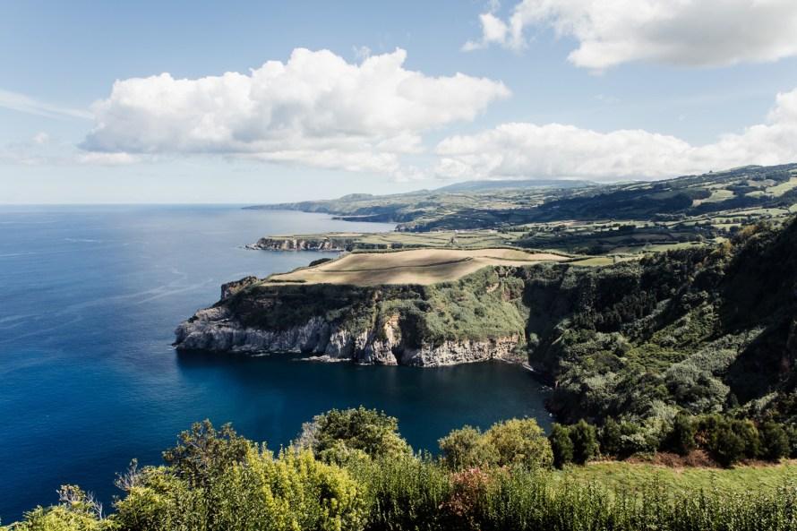Jagged coastline and ocean