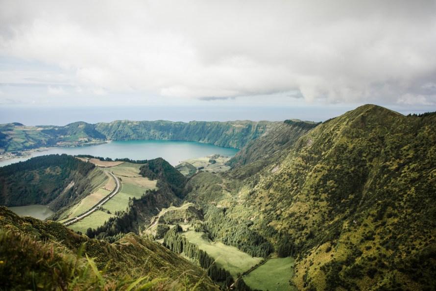 Two lakes Sete Cidades and mountains
