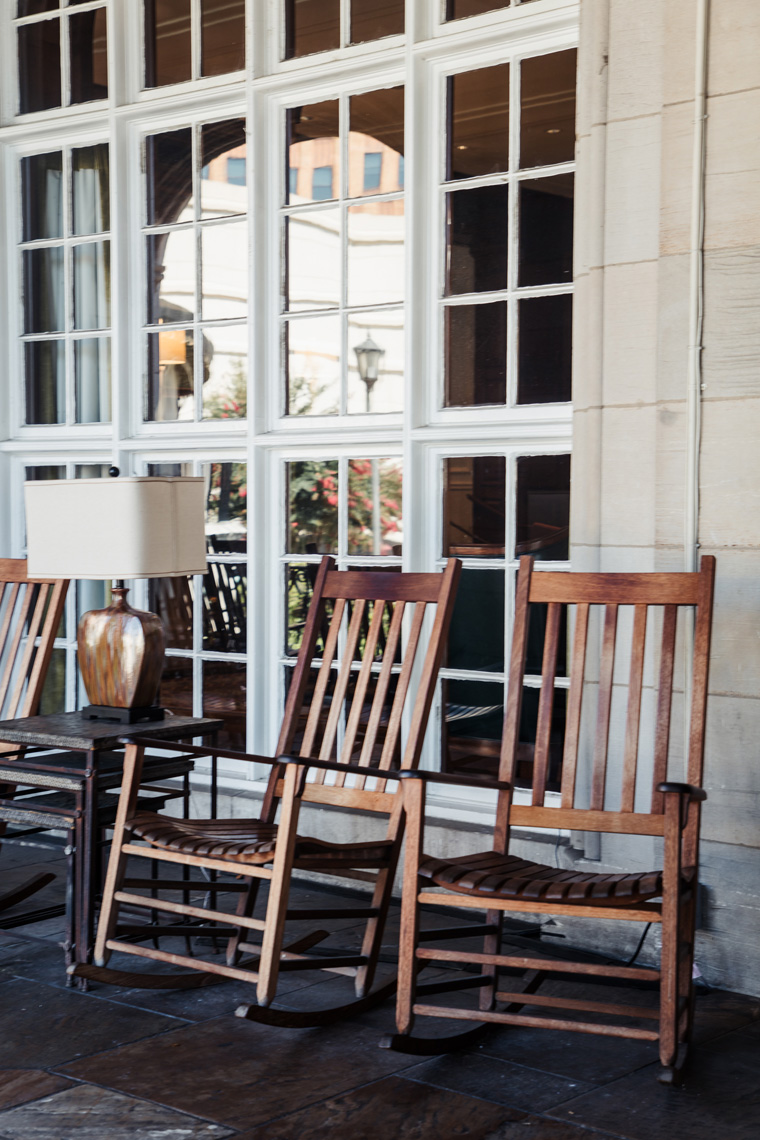 Rocking chairs on the porch of Hotel Roanoke