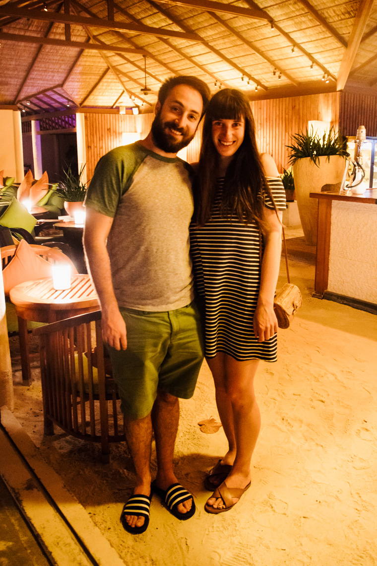 Carly and Jake in the Conrad Maldives lobby