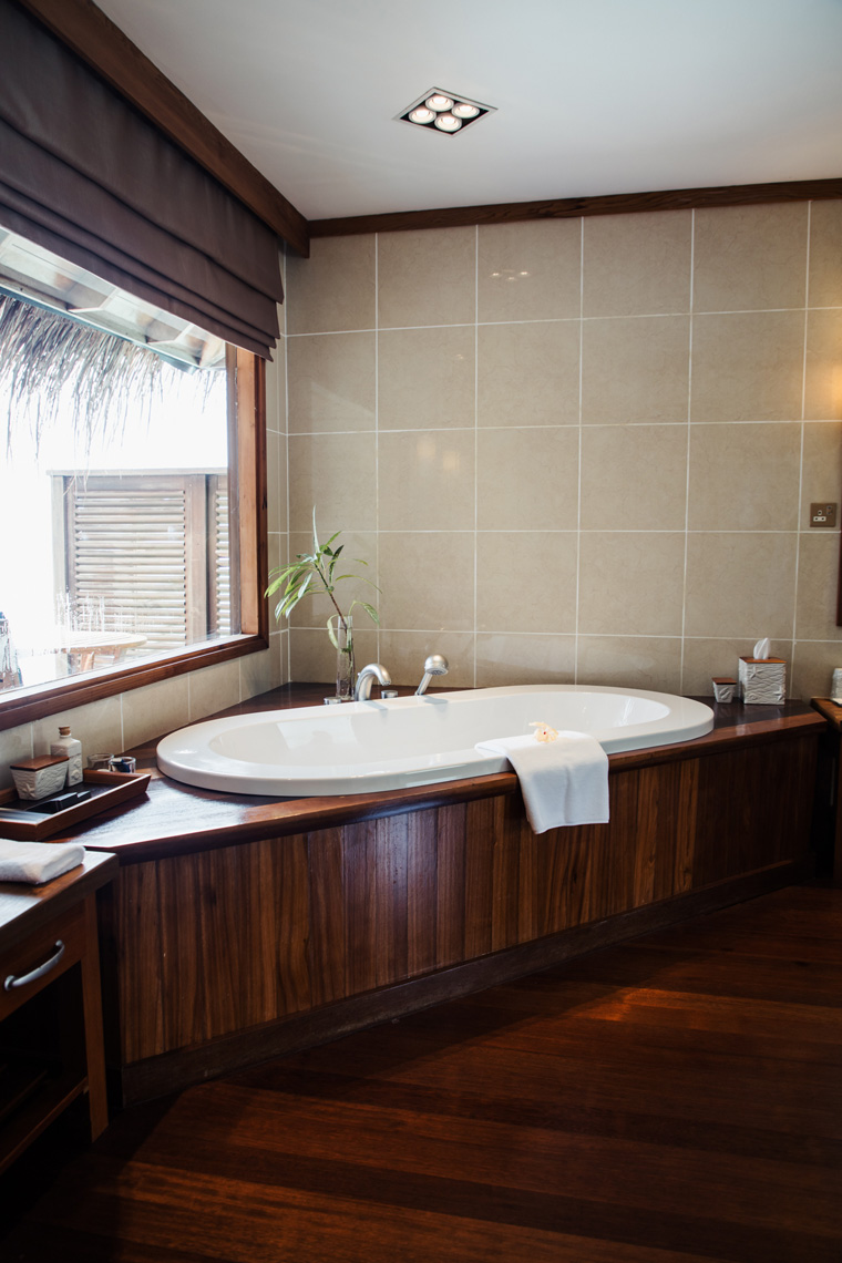 Bathtub by the window in a Conrad Maldives hotel room