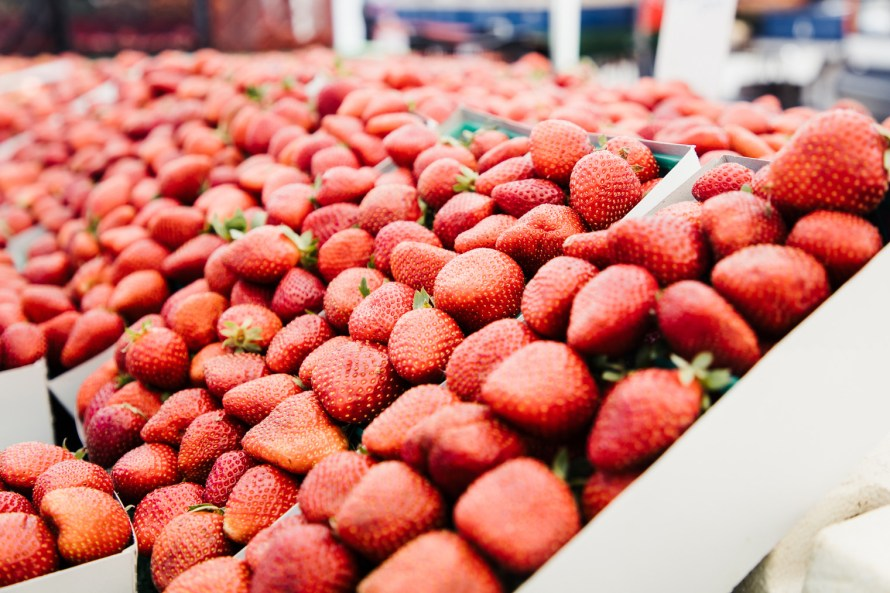 Strawberries at the farmers market