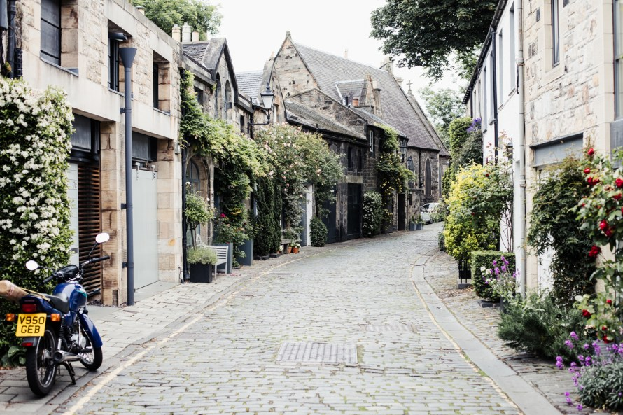 Cobblestone street in Edinburgh