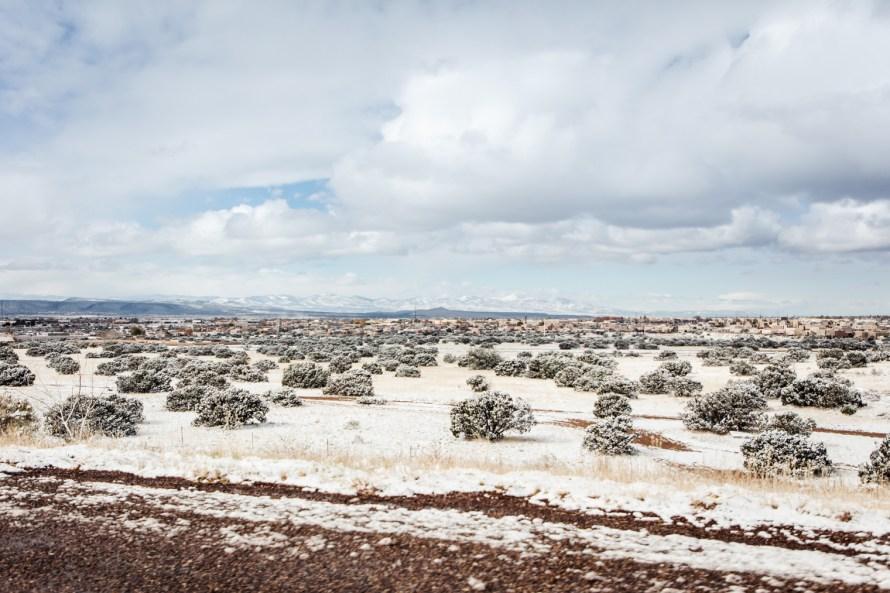 Snow-covered desert landscape