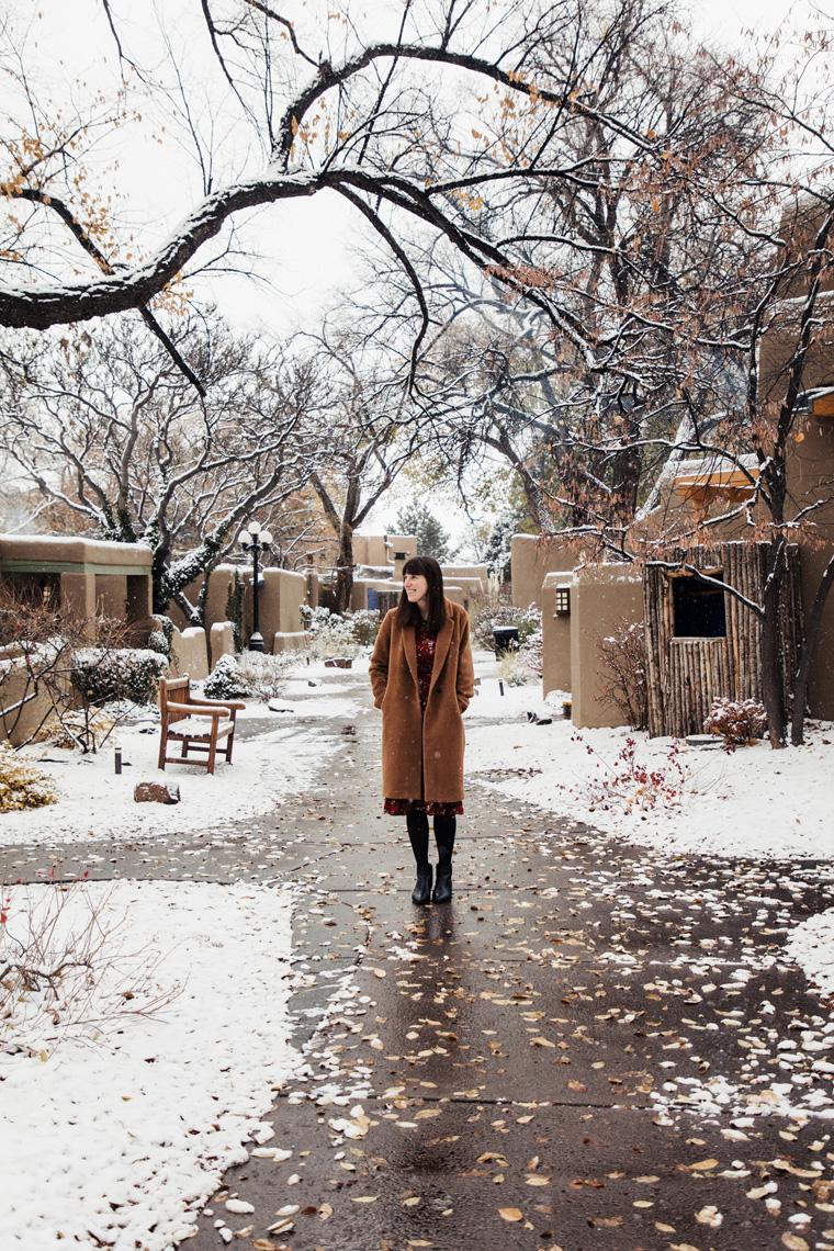 Carly at snowy La Posada de Santa Fe