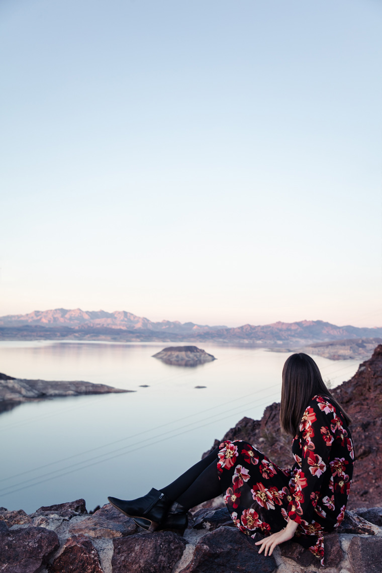 Carly watching sunset at Lake Mead