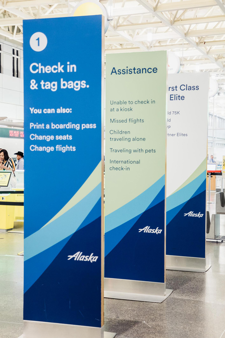 Alaska Airlines signs