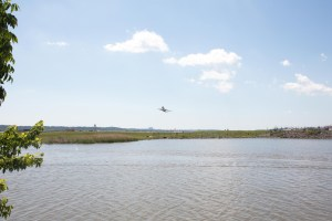 Plane flying over water