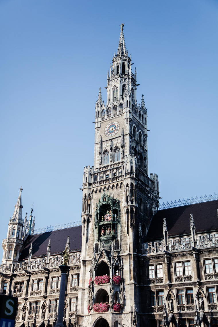 Munich clock tower, driving through Europe