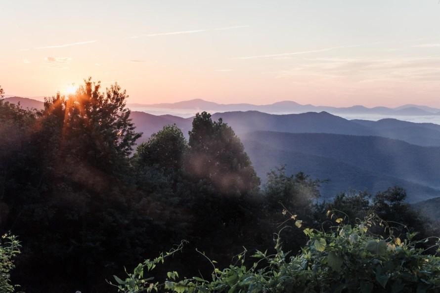 Mills River Valley Overlook sunrise