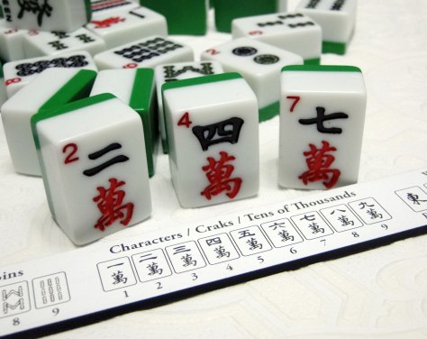 "The Charecters are represented with Chinese numbers.  My set is a nice ""beginner"" set as there are the Arabic numbers we use in English in the upper left corner.  Not all sets have this."