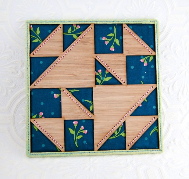 Tidy and neatly bound wooden quilt!
