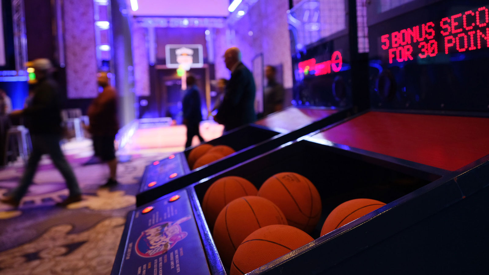 Unwind at Hoops & Hops by playing Super Shot or shooting on our regulation free throw court.