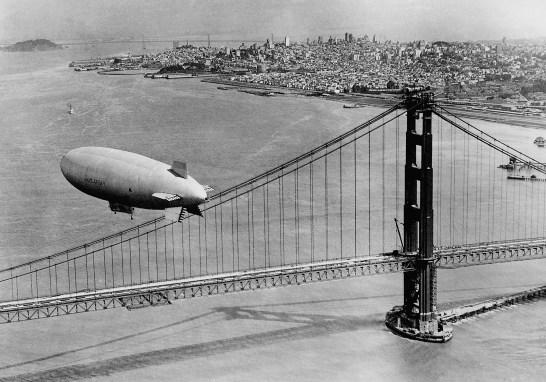 CPJ63A Airship over the Golden Gate Bridge in San Francisco, 1937