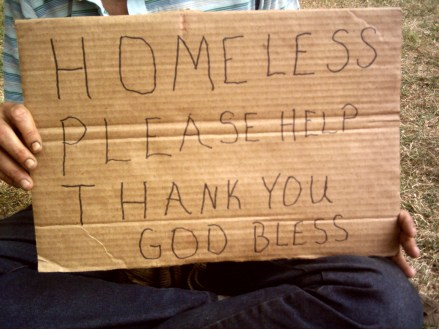 """""""homeless - please help"""" sign"""