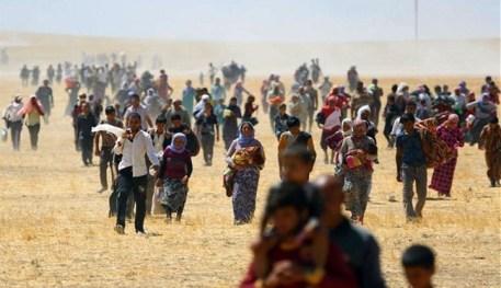 نزوح الأيزيديين بعد تهديدهم من قبل جماعة داعش