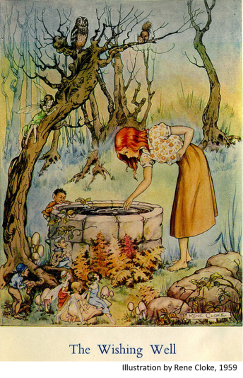 wishing well with label