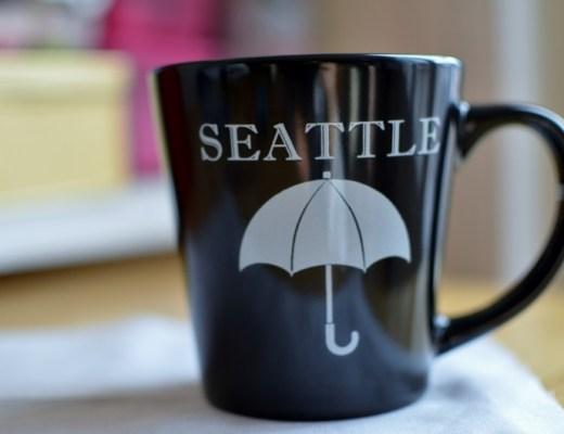 Seattle, mug, tasse, noire,USA
