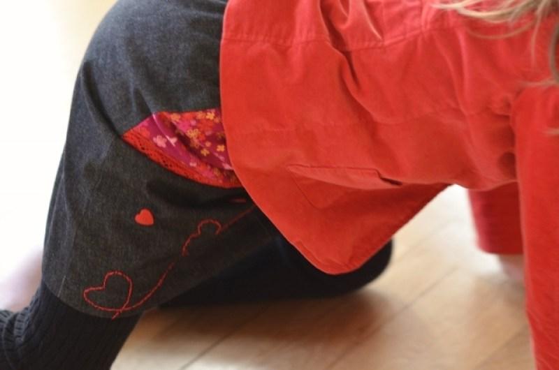 Rouge, Noir, Couture, Ruban, Dentelle,Rose,jupe,couture enfant