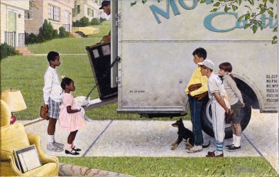 Norman Rockwell (American, 1894'??1978). New Kids in the Neighborhood (Negro in the Suburbs), 1967. Oil on canvas, 36 1/2 x 57 1/2 in. (92.7 x 146.1 cm). Story illustration for Look, May 16, 1967. Norman Rockwell Museum Collection, Stockbridge, Massachusetts. Printed by permission of the Norman Rockwell Family Agency. © 2013 the Norman Rockwell Family Entities