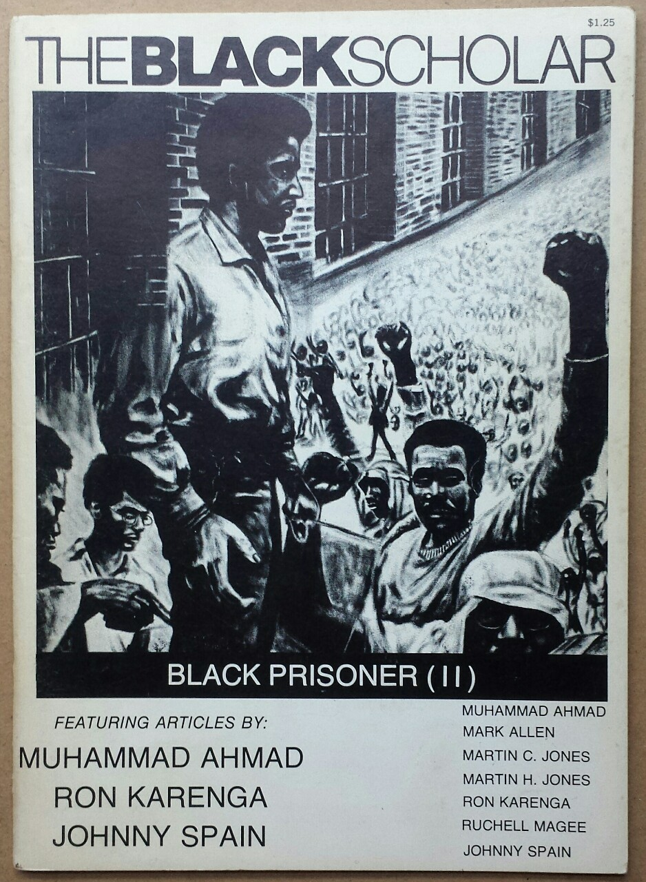 'The Black Scholar', The Black World Foundation, Sausalito, California, 1972. Muhammad Ahmad was a founder of the Revolutionary Action Movement, Ron Karenga was the founder of the US Organization, and Johnny Spain was a member of the Black Panther Party and one of the political prisoners known collectively as the San Quentin Six.
