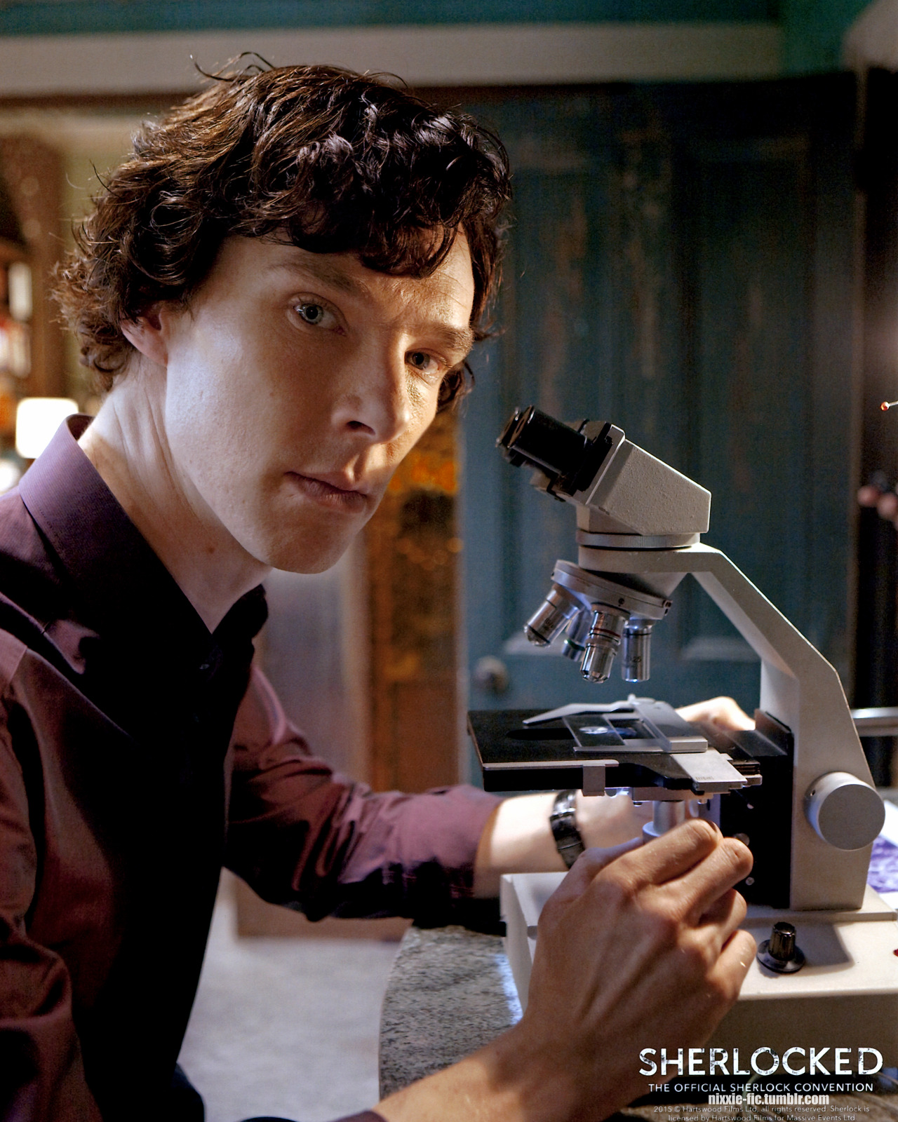 nixxie-fic: New pic - 28 - The Great Game Production Still - Sherlock Holmes at his microscope - Please link back if you use for edits etc. Get the Highest Res here: (4800x6000) Sherlocked Promo Pictures: (John outside court) (Moriarty in front of stained glass) (Greg Lestrade White BG) (Sherlock outside Irenes) (Sherlock Pilot photoshoot) (Sherlock at the wedding) (Mycroft outside Mummy's house) (Mycroft chin on brolly) (John in TEH Restaurant) (Mycroft Leaning on his Brolly) (John Watson Black BG) (Sherlock Light Grey BG S3) (Sherlock w/ Fur Collar)