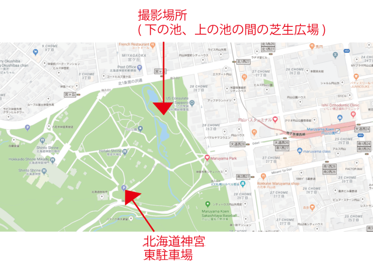 円山公園撮影場所地図