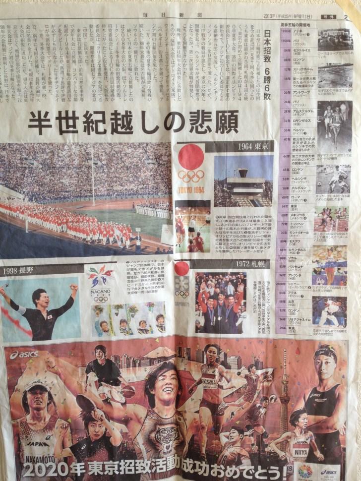 2020年東京オリンピック・パラリンピック承知成功の祝賀ムード当時の新聞